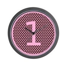 Pink and Brown First Birthday ONE Wall Clock