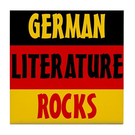 German Lit Rocks Tile Coaster
