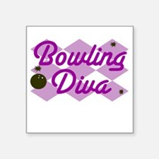 "Bowling Diva Square Sticker 3"" x 3"""