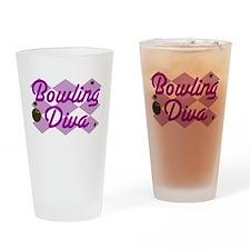 Bowling Diva Drinking Glass