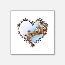 "Giraffe & Calf Snowflake Heart Square Sticker 3"" x"