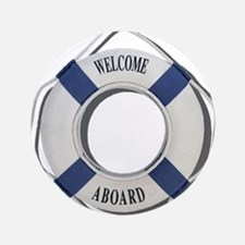 """Welcome Aboard Life Preserver 3.5"""" Button (100 pac"""