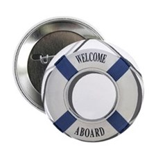 """Welcome Aboard Life Preserver 2.25"""" Button (10 pac"""