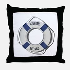 Welcome Aboard Life Preserver Throw Pillow