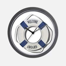 Welcome Aboard Life Preserver Wall Clock