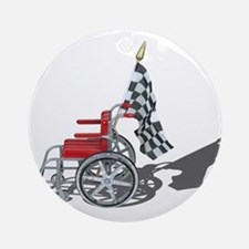 Checkered Flag and Wheelchair Ornament (Round)