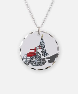Checkered Flag and Wheelchair Necklace