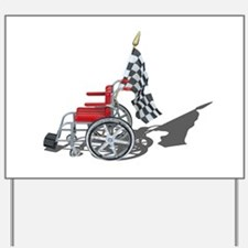 Checkered Flag and Wheelchair Yard Sign