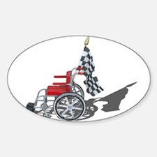Checkered Flag and Wheelchair Sticker (Oval)