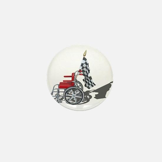 Checkered Flag and Wheelchair Mini Button
