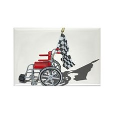 Checkered Flag and Wheelchair Rectangle Magnet