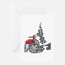 Checkered Flag and Wheelchair Greeting Card
