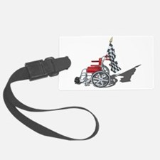 Checkered Flag and Wheelchair Luggage Tag