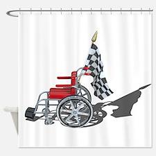 Checkered Flag and Wheelchair Shower Curtain