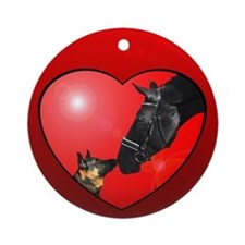 Dog & Horse Friends Red Heart Ornament Red