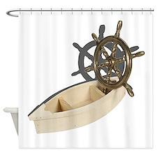 Ship Wheel Wooden Boat Shower Curtain