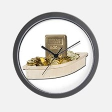 Boat filled Gold Coins Wall Clock