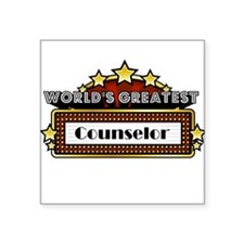 """World's Greatest Counselor Square Sticker 3"""" x 3"""""""