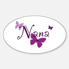Nana Butterflys Sticker (Oval)