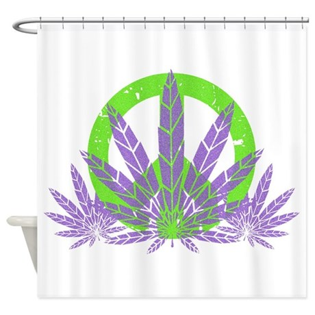 Peace With Purple Shower Curtain
