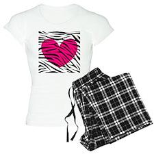 Hot pink heart in Zebra Stripes Pajamas
