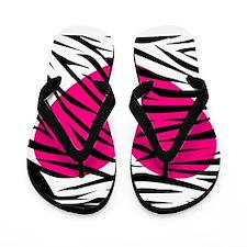 Hot pink heart in Zebra Stripes Flip Flops