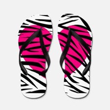 Hot pink heart in Zebra Stripes Flip Flops