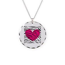 Hot pink heart in Zebra Stripes Necklace