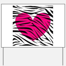 Hot pink heart in Zebra Stripes Yard Sign