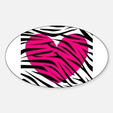 Hot pink heart in Zebra Stripes Decal