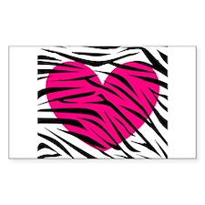 Hot pink heart in Zebra Stripes Decal