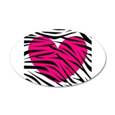 Hot pink heart in Zebra Stripes Wall Decal