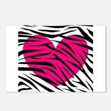 Hot pink heart in Zebra Stripes Postcards (Package