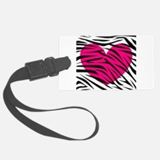 Hot pink heart in Zebra Stripes Luggage Tag