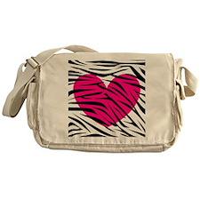 Hot pink heart in Zebra Stripes Messenger Bag