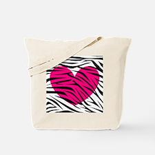 Hot pink heart in Zebra Stripes Tote Bag