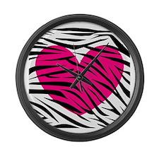 Hot pink heart in Zebra Stripes Large Wall Clock