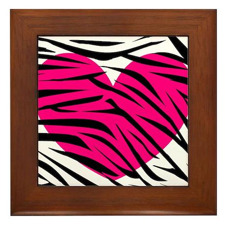 Hot pink heart in Zebra Stripes Framed Tile
