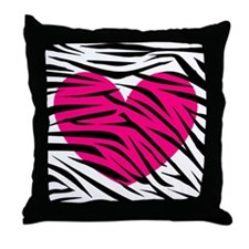 Hot pink heart in Zebra Stripes Throw Pillow