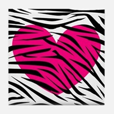 Hot pink heart in Zebra Stripes Tile Coaster