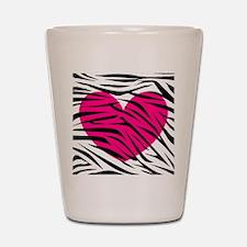 Hot pink heart in Zebra Stripes Shot Glass
