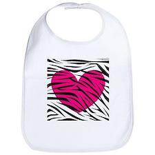 Hot pink heart in Zebra Stripes Bib