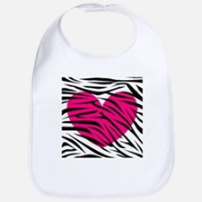 Hot pink heart in Zebra Stripes Bib