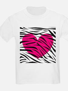 Hot pink heart in Zebra Stripes T-Shirt