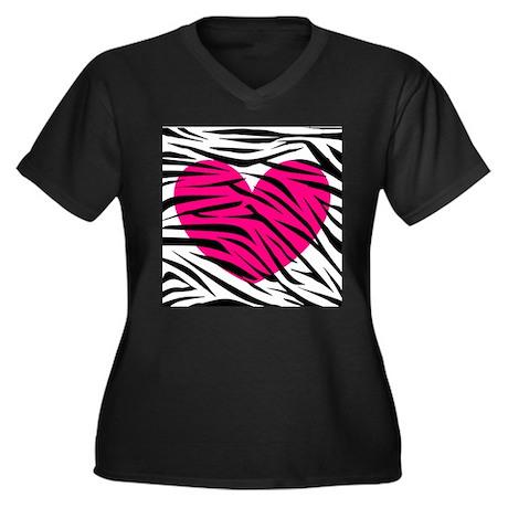 Hot pink heart in Zebra Stripes Women's Plus Size