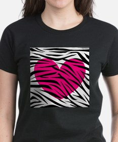 Hot pink heart in Zebra Stripes Tee