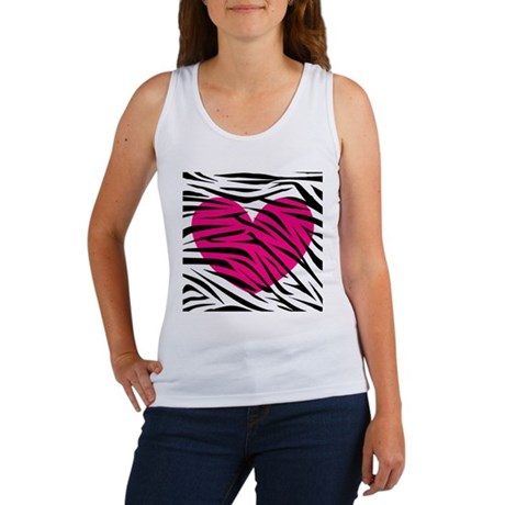 Hot pink heart in Zebra Stripes Women's Tank Top