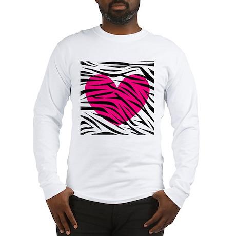 Hot pink heart in Zebra Stripes Long Sleeve T-Shir