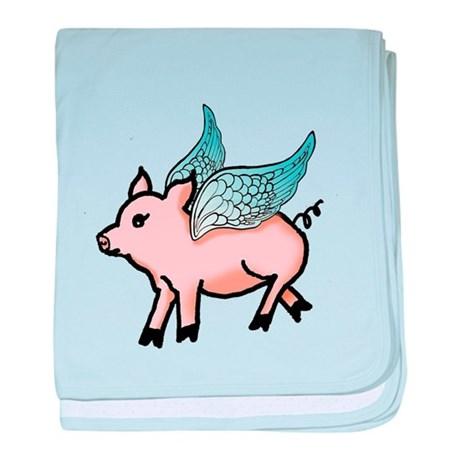 Flying Pig baby blanket