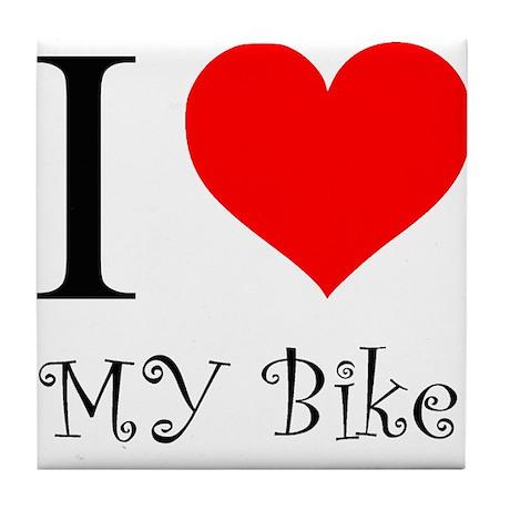 I Love my bike Tile Coaster